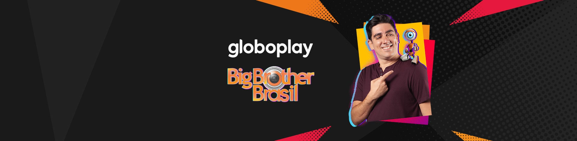 "Foto do ator Marcelo Adnet com o robozinho mascote do BBB. Lê-se: ""Globoplay. Big Brother Brasil.""."