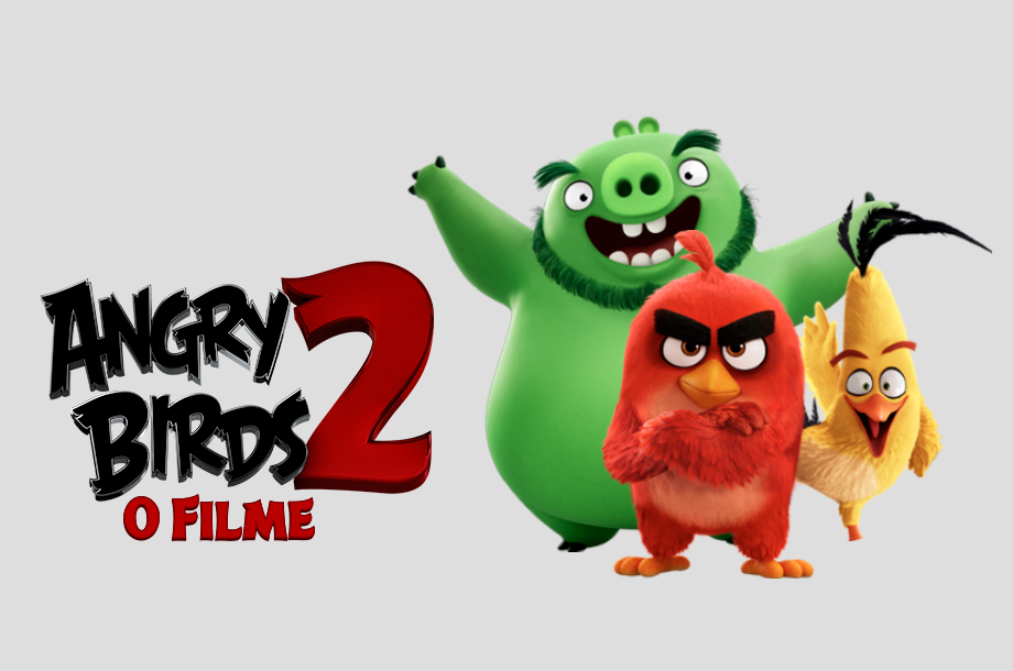 Imagem dos personagens do filme Angry Birds 2 com o logo do filme